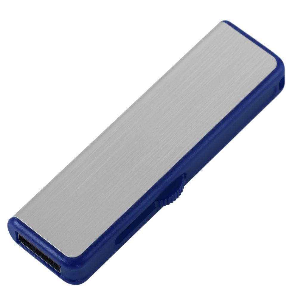 Флешка Ferrum, серебристая с синим, 8 Гб, , металл