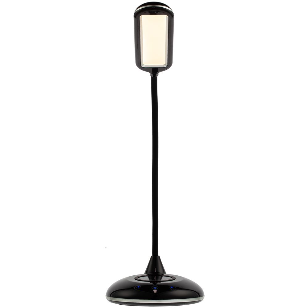 Лампа с беспроводной зарядкой Bright Helper, черная, , пластик
