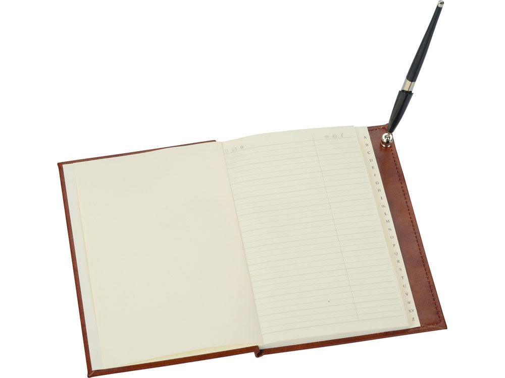 Настольный прибор «Личный помощник», коричневый/серебристый, черный, искусственная кожа/серебро, металл