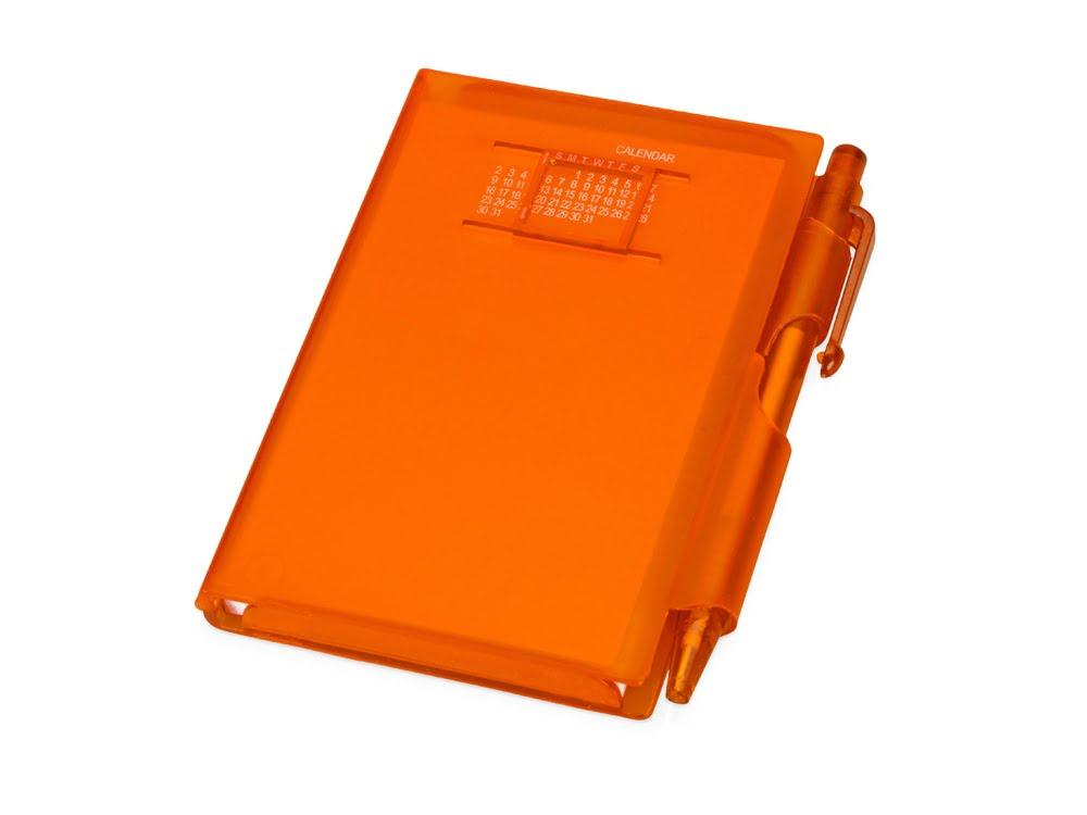 Записная книжка Альманах с ручкой, оранжевый, оранжевый, пластик
