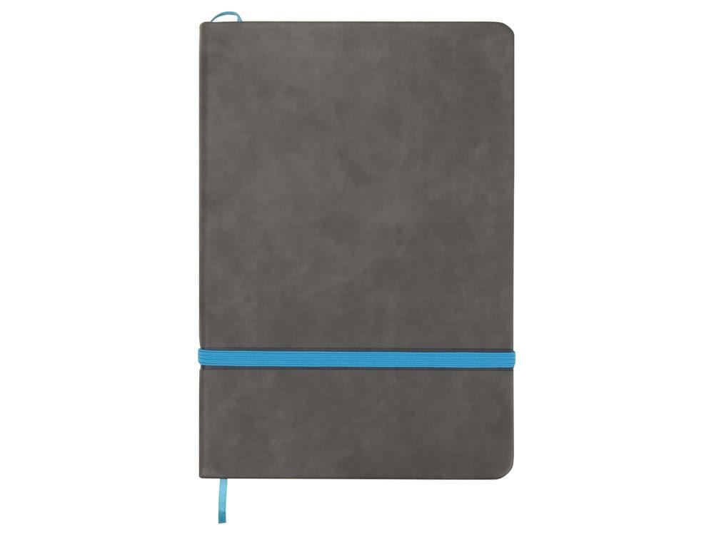 Блокнот Color линованный А5 в твердой обложке с резинкой, серый/синий, серый/синий, термо pu с зернистой структурой