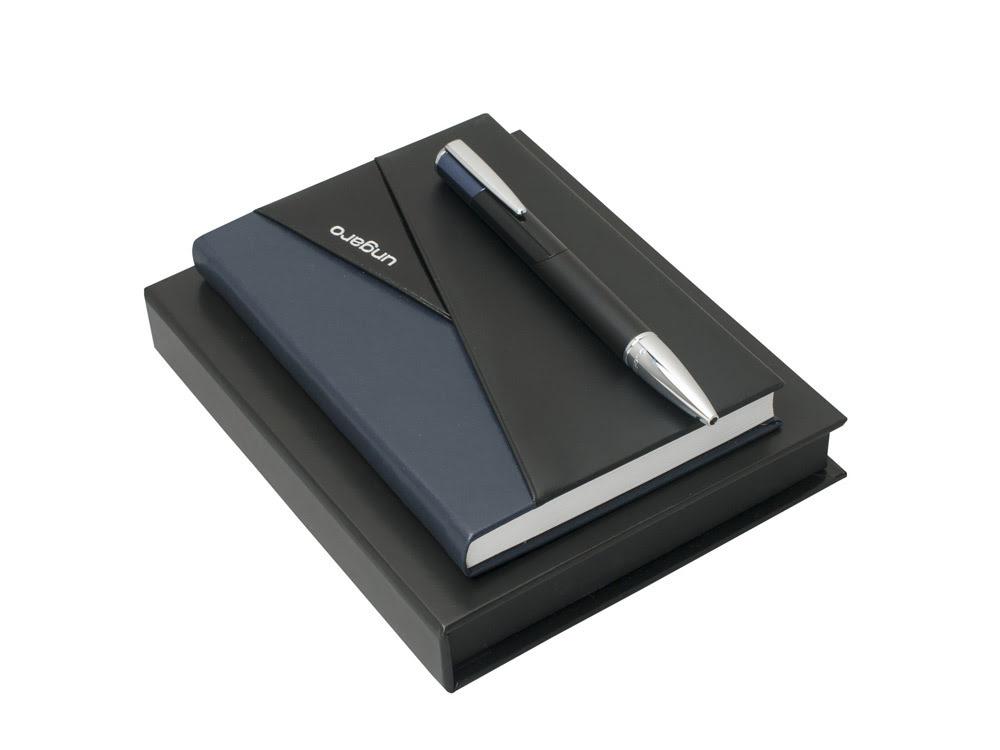 Набор: блокнот A6, ручка шариковая. Ungaro, черный, синий, серебристый, искусственная кожа, латунь