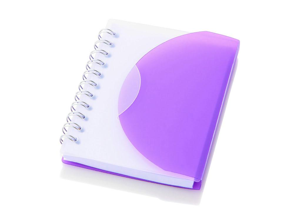 Блокнот А7 Post, пурпурный, пурпурный/прозрачный, полипропилен