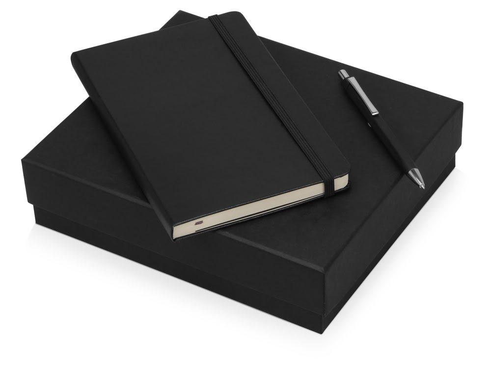 Подарочный набор Moleskine Hemingway с блокнотом А5 и ручкой, черный, черный, бумага/полиуретан, металл
