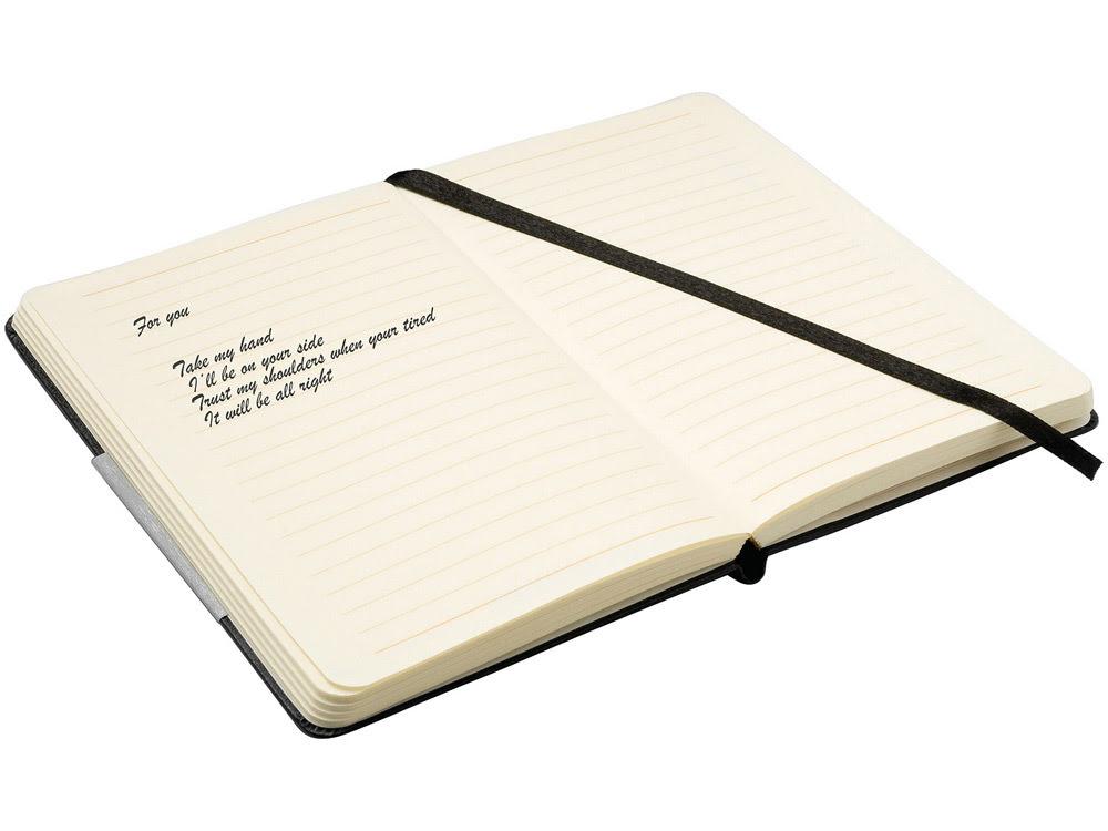 Блокнот, черный, черный, картон с покрытием из бумаги, имитирующей кожу