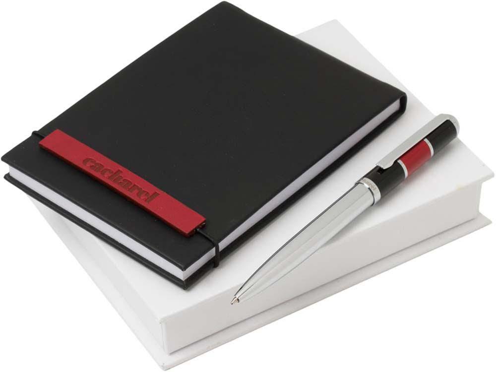 Набор Cacharel: дизайнерский блокнот А6, шариковая ручка, черный/серебристый/красный, искусственная кожа/латунь