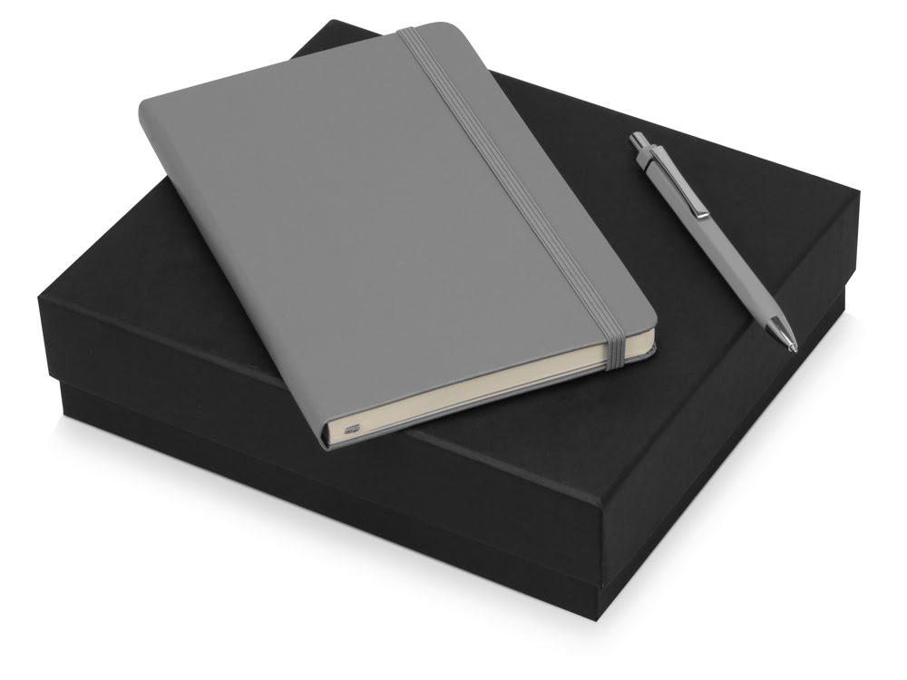Подарочный набор Moleskine Hemingway с блокнотом А5 и ручкой, серый, серый, бумага/полиуретан, металл