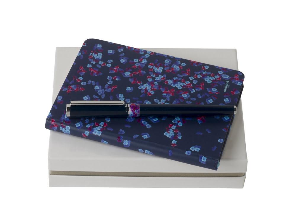 Набор: блокнот A6, ручка роллер. Cacharel, синий, серебристый, искусственная кожа, латунь