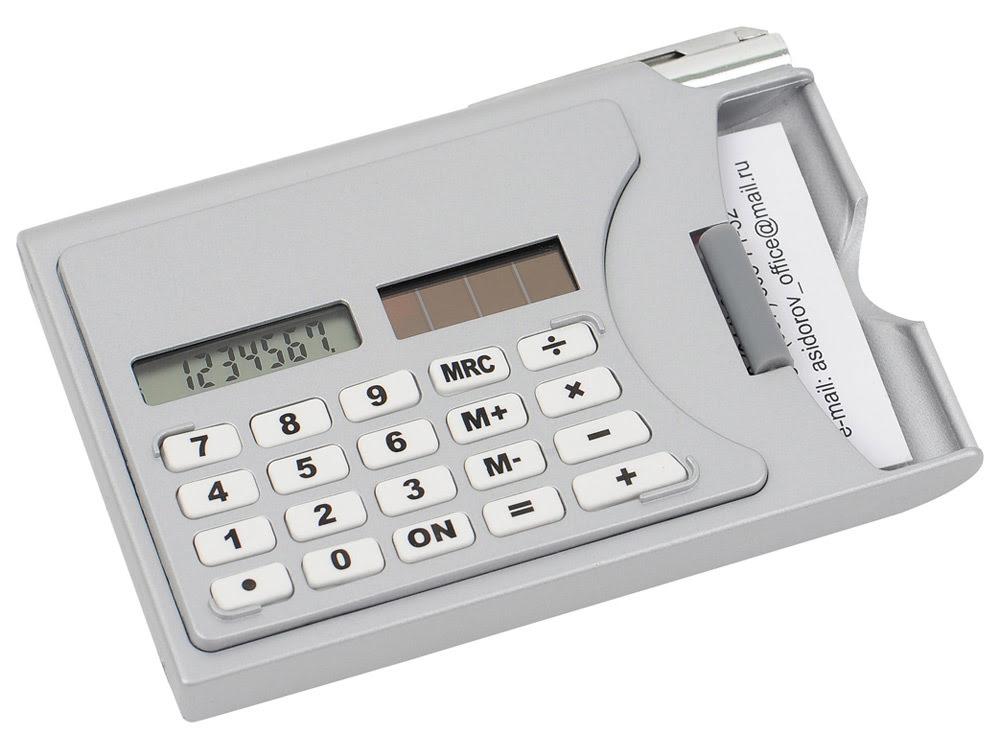 Визитница «Бухгалтер» с калькулятором и ручкой, серый, серый, металл/пластик