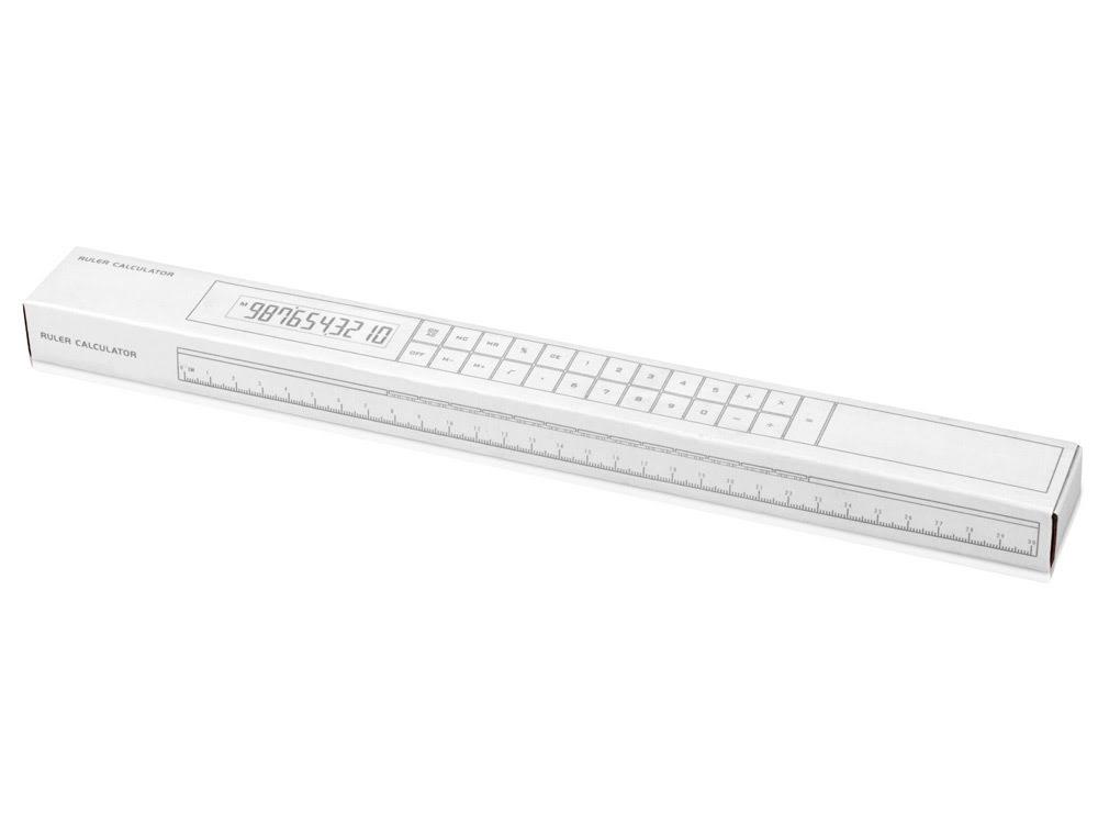 Линейка с калькулятором «Фактор», белый, белый, пластик
