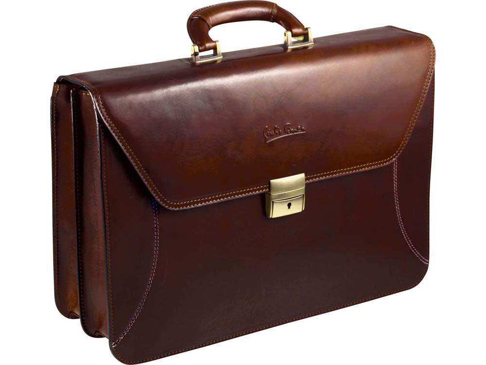 Портфель «Люкс» Giulio Barсa, коричневый, коричневый, натуральная кожа