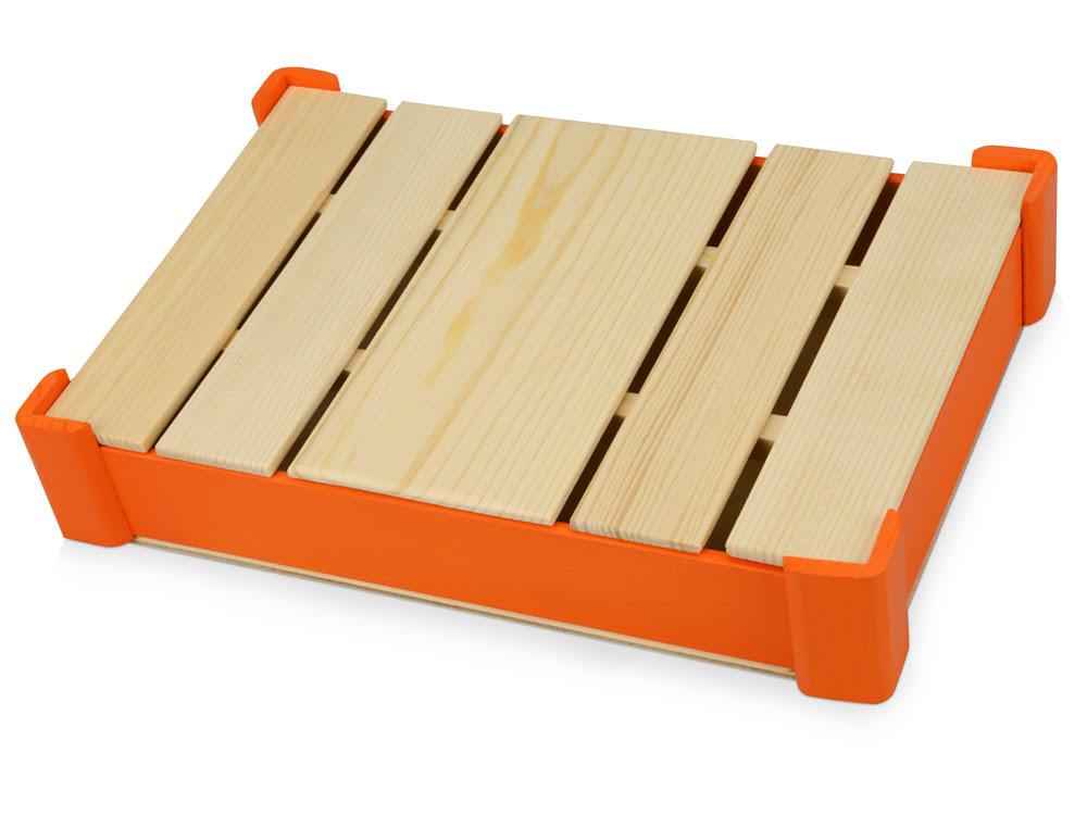 Подарочная деревянная коробка, оранжевый, оранжевый/натуральный, дерево