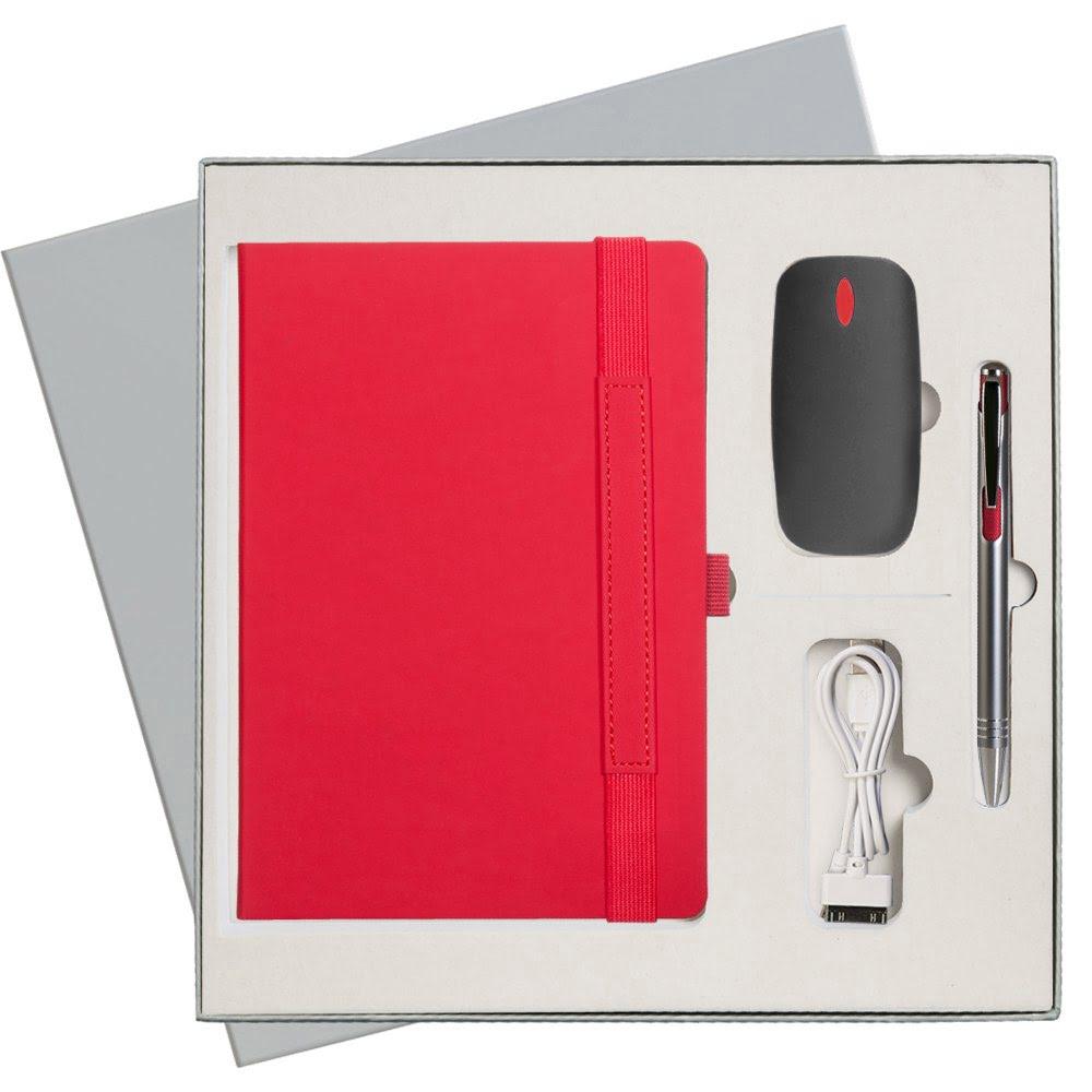 Подарочный набор Portobello/Alpha красный (Ежедневник недат А5, Ручка, Power Bank), серый,