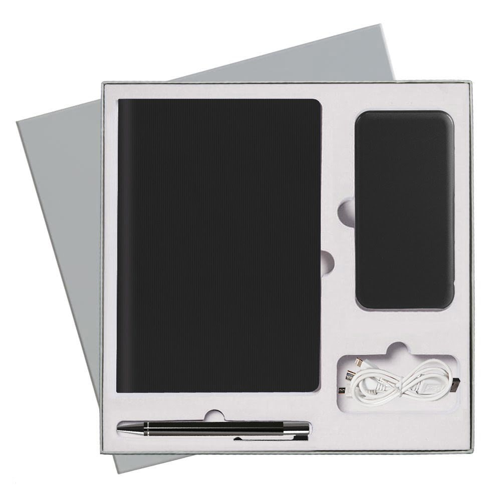 Подарочный набор Portobello/Rain черный (Ежедневник недат А5, Ручка, Power Bank), серый,