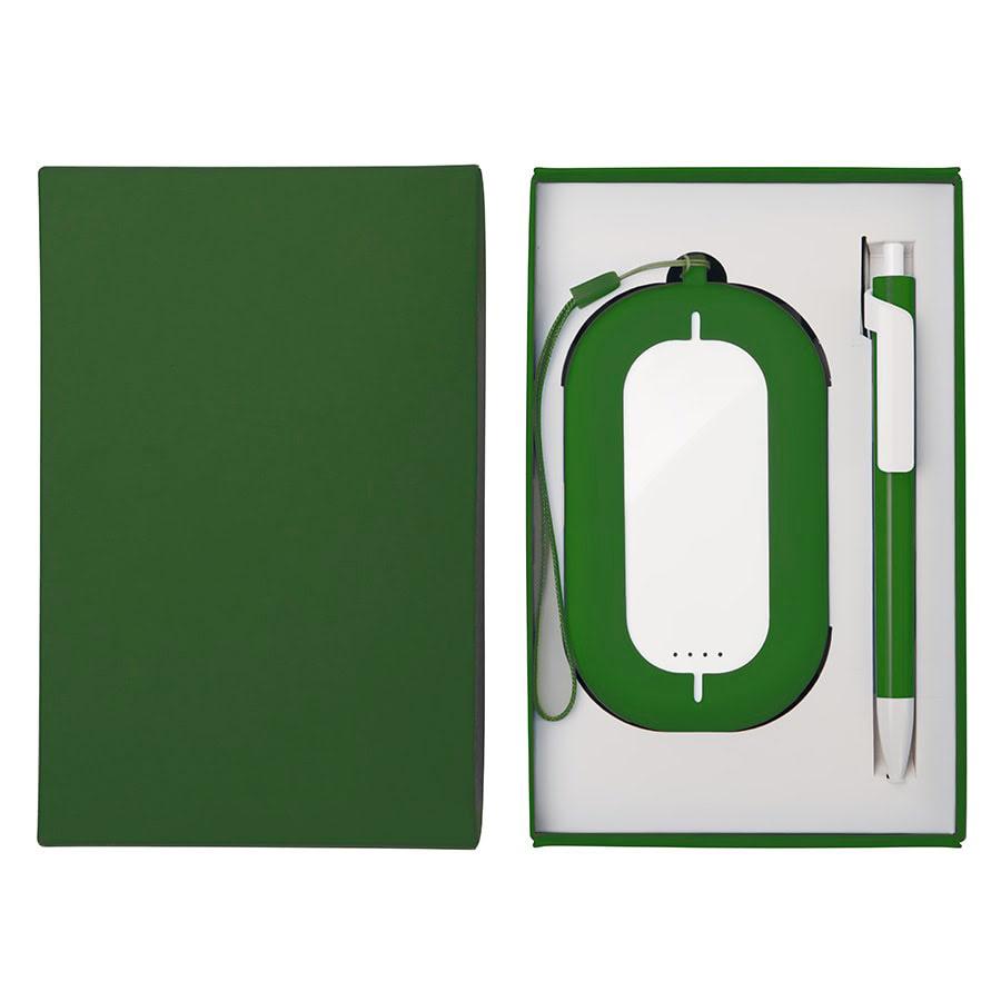 Набор SEASHELL-2: универсальное зарядное устройство (6000 mAh) и ручка в подарочной коробке, белый, зеленый, разные материалы