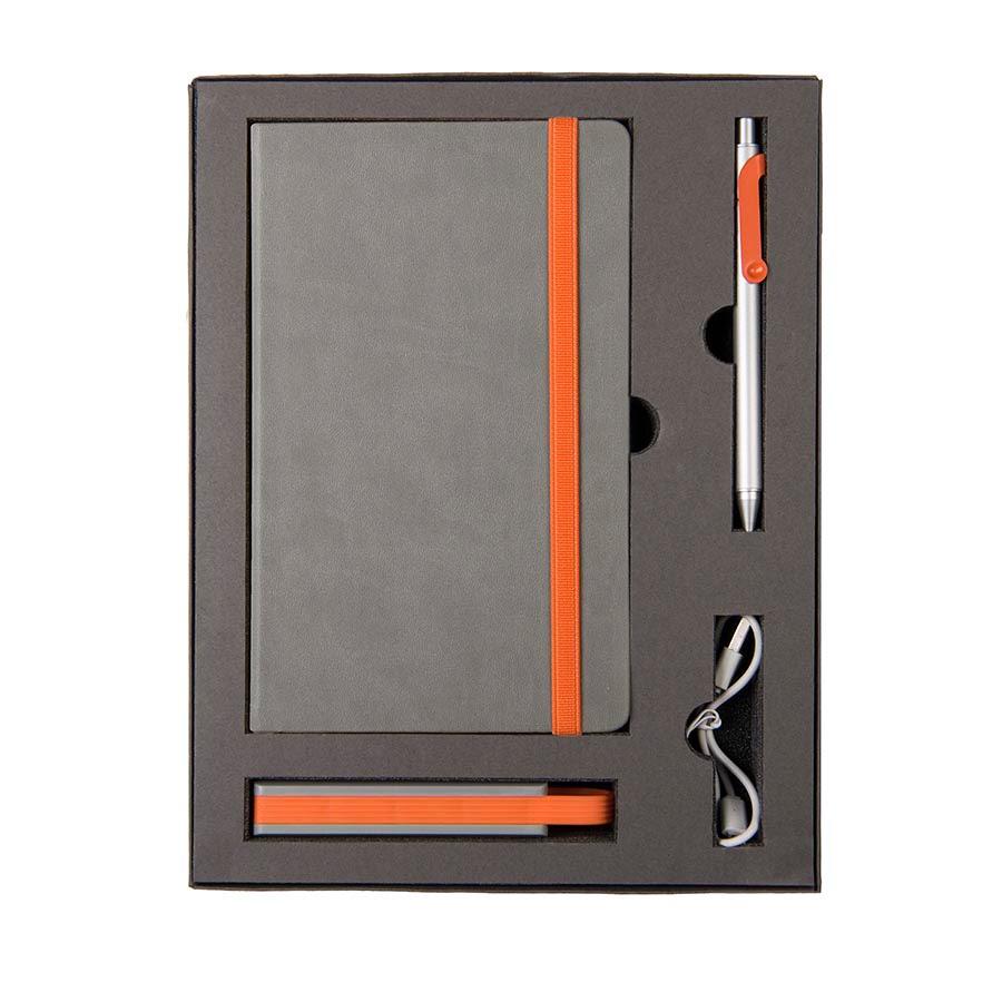 Набор  FANCY: универсальное зарядное устройство(2200мAh), блокнот и ручка в подарочной коробке, серый, оранжевый, разные материалы