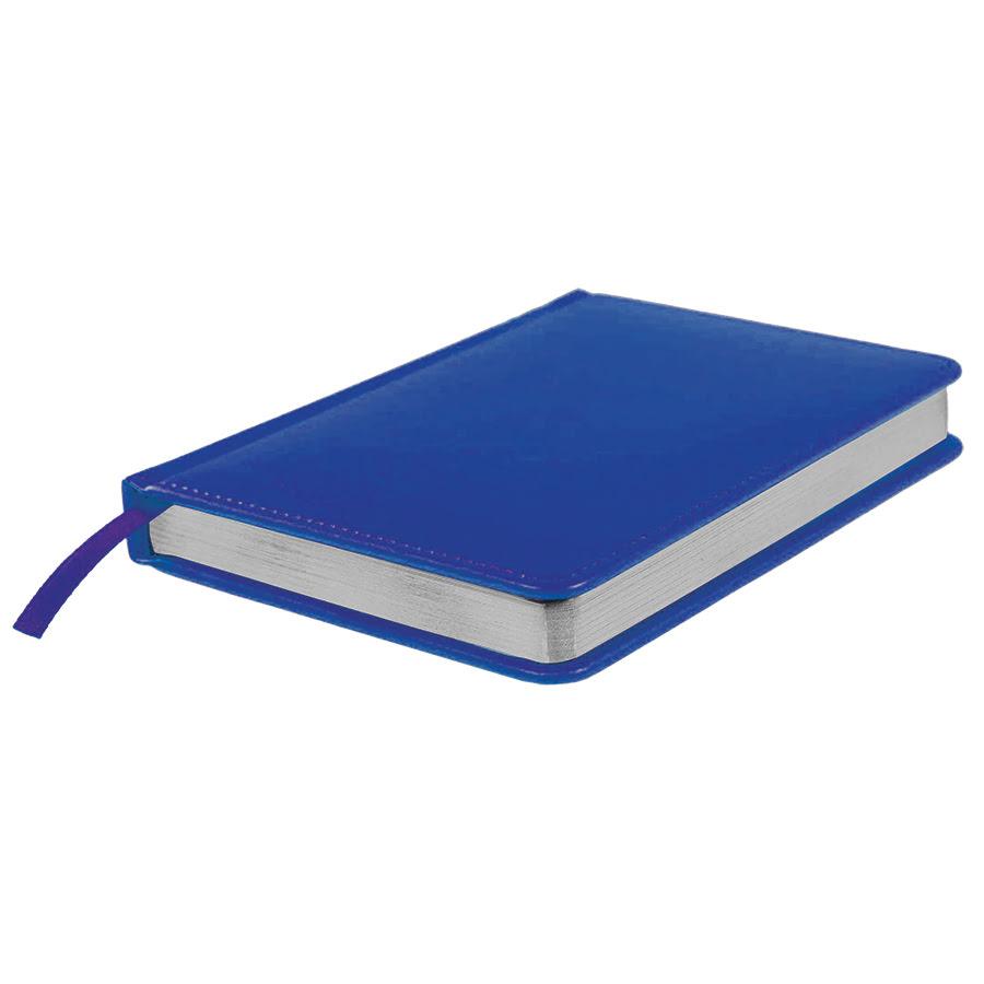 Ежедневник недатированный Joy, А6+,  синий, белый блок, серебряный обрез, синий, pU Nebraska