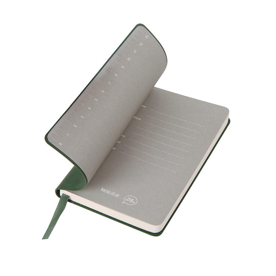 Бизнес-блокнот FUNKY, формат A6, в клетку, зеленый, серый, pU Velvet