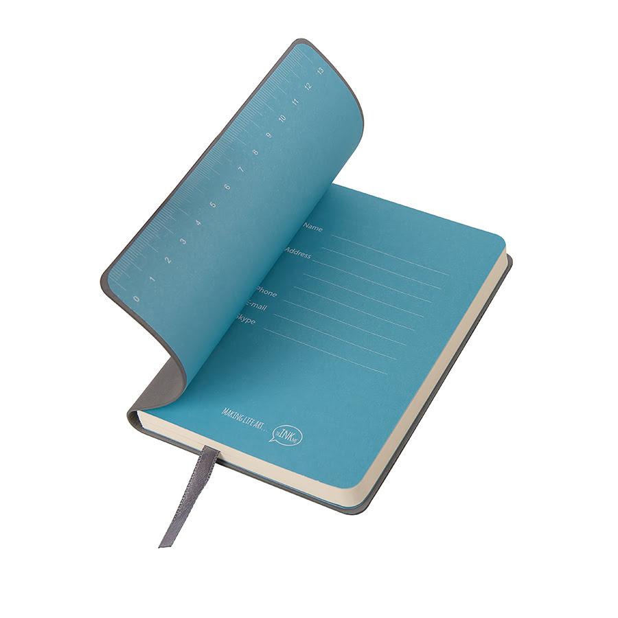 Бизнес-блокнот FUNKY, формат A6, в клетку, серый, голубой, pU Velvet