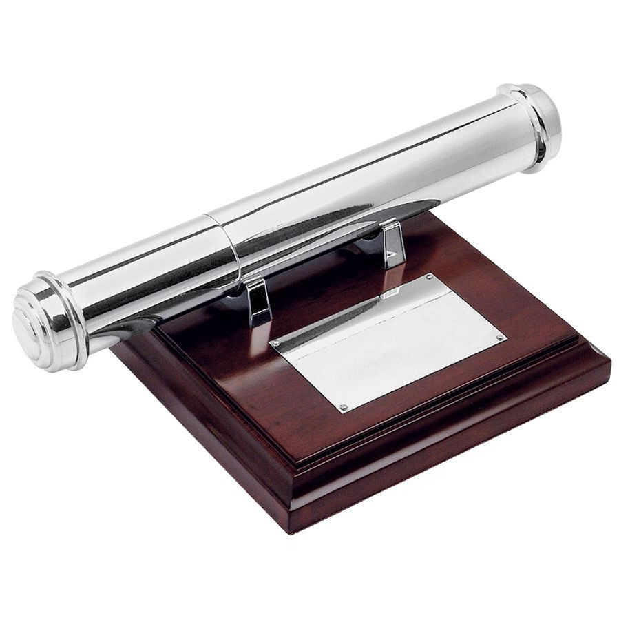 Тубус для наградных бумаг, коричневый, серебристый, дерево, металл