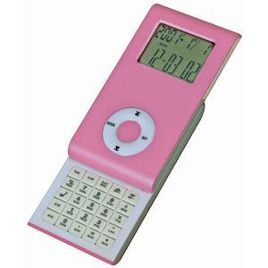 Калькулятор раздвижной с календарем и часами, розовый, пластик